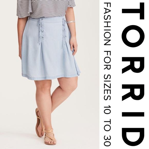 c3000f26913 🔸ON HOLD🔸 Torrid Denim Lace Up Mini Skirt